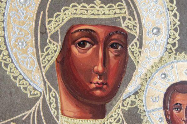 Икона Смоленской Божией Матери № 1-06 подарочная из мрамора, камня, изображение, фото 4