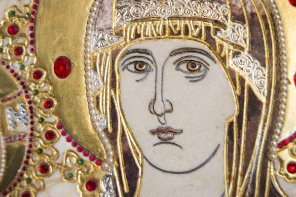 Икона Божией Матери Троеручица № 2-12-2 из мрамора, камня, изображение, фото 13
