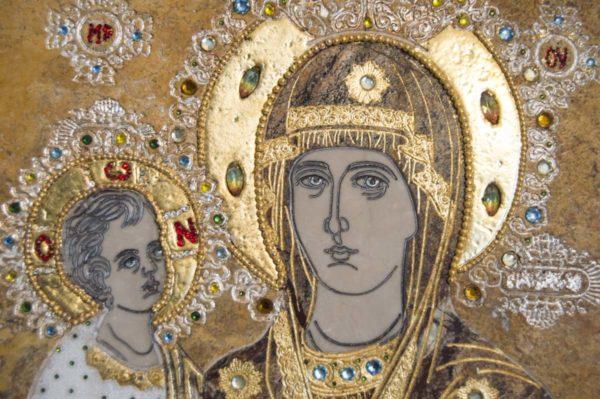 Икона Божией Матери Троеручица № 2-12-5 из мрамора, камня, изображение, фото 7