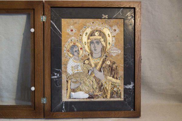 Икона Божией Матери Троеручица № 2-12-5 из мрамора, камня, изображение, фото 8