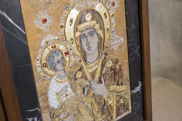 Икона Божией Матери Троеручица № 2-12-5 из мрамора, камня, изображение, фото 9