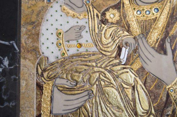Икона Божией Матери Троеручица № 2-12-5 из мрамора, камня, изображение, фото 11