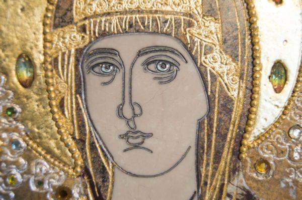 Икона Божией Матери Троеручица № 2-12-5 из мрамора, камня, изображение, фото 14