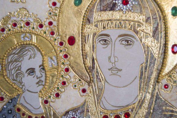 Икона Божией Матери Троеручица № 2-12-6 из мрамора, камня, изображение, фото 11