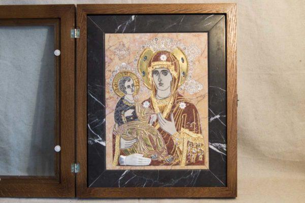 Икона Божией Матери Троеручица № 2-12-7 из мрамора, камня, изображение, фото 5