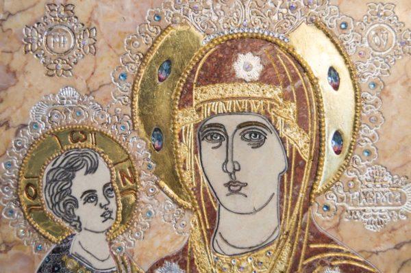 Икона Божией Матери Троеручица № 2-12-7 из мрамора, камня, изображение, фото 7
