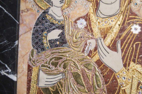 Икона Божией Матери Троеручица № 2-12-7 из мрамора, камня, изображение, фото 8