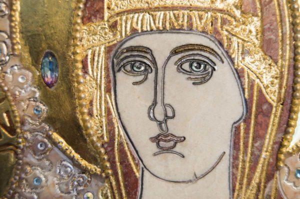 Икона Божией Матери Троеручица № 2-12-7 из мрамора, камня, изображение, фото 11
