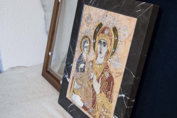 Икона Божией Матери Троеручица № 2-12-7 из мрамора, камня, изображение, фото 13