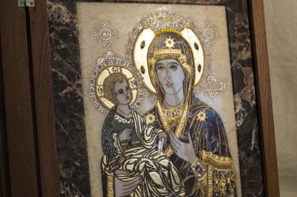 Икона Божией Матери Троеручица № 2-12-8 из мрамора, камня, изображение, фото 6