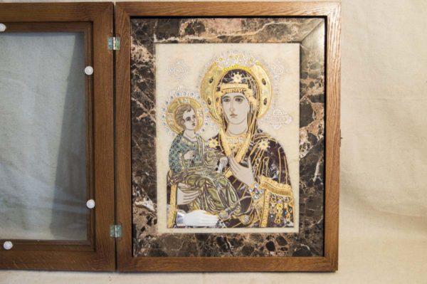 Икона Божией Матери Троеручица № 2-12-8 из мрамора, камня, изображение, фото 7