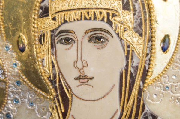 Икона Божией Матери Троеручица № 2-12-8 из мрамора, камня, изображение, фото 8