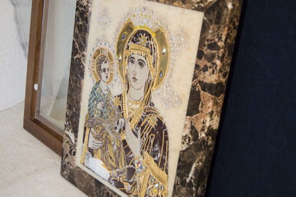 Икона Божией Матери Троеручица № 2-12-8 из мрамора, камня, изображение, фото 14