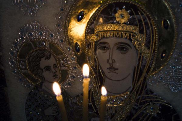 Икона Божией Матери Троеручица № 2-12-8 из мрамора, камня, изображение, фото 16