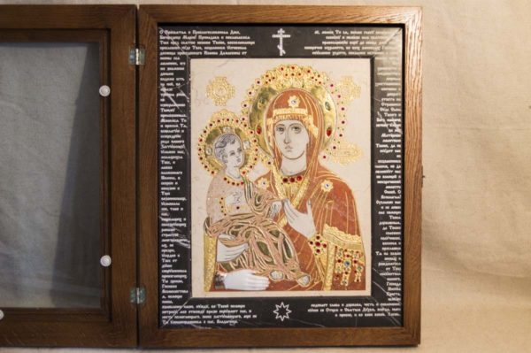 Икона Божией Матери Троеручица № 2-12-9 из мрамора, камня, изображение, фото 5