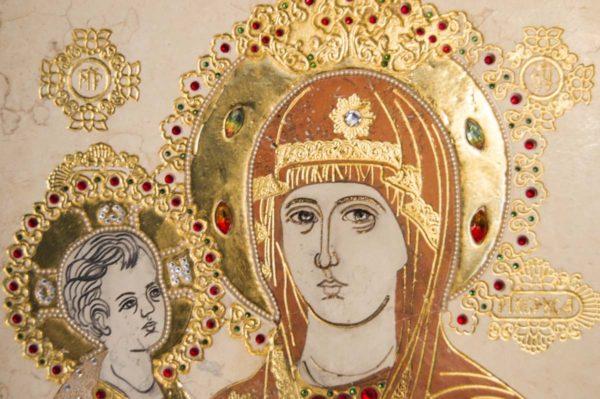 Икона Божией Матери Троеручица № 2-12-9 из мрамора, камня, изображение, фото 7
