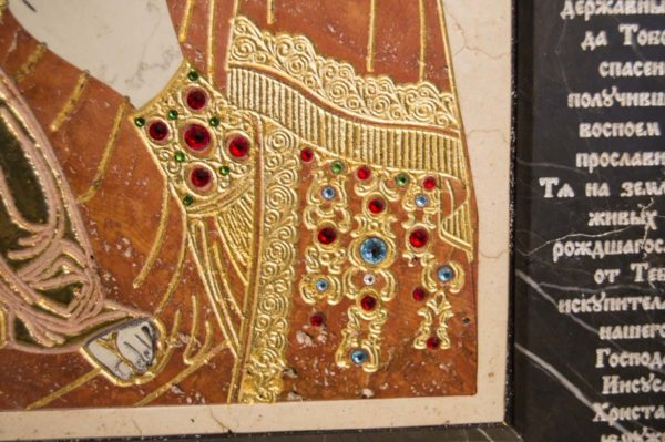 Икона Божией Матери Троеручица № 2-12-9 из мрамора, камня, изображение, фото 9