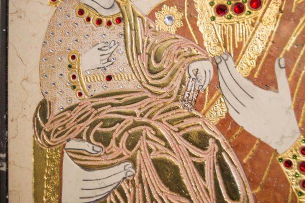 Икона Божией Матери Троеручица № 2-12-9 из мрамора, камня, изображение, фото 10