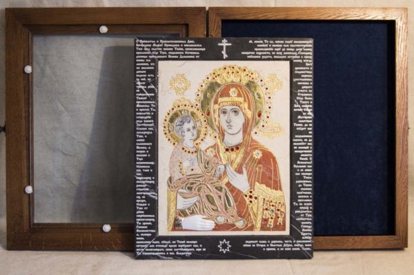 Икона Божией Матери Троеручица № 2-12-9 из мрамора, камня, изображение, фото 13