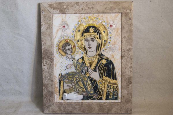 Икона Божией Матери Троеручица № 2-12-10 из мрамора, камня, изображение, фото 15