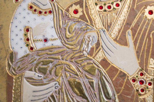 Икона Божией Матери Троеручица № 2-12-11 из мрамора, камня, изображение, фото 9