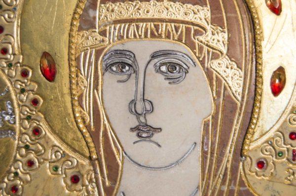 Икона Божией Матери Троеручица № 2-12-11 из мрамора, камня, изображение, фото 13