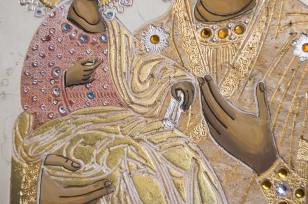 Икона Божией Матери Троеручица № 2-12-13 из мрамора, камня, изображение, фото 7