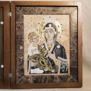 Икона Божией Матери Троеручица № 2-12-12 из мрамора, камня, изображение, фото 4