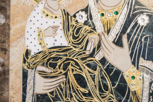 Икона Божией Матери Троеручица № 2-12-12 из мрамора, камня, изображение, фото 6