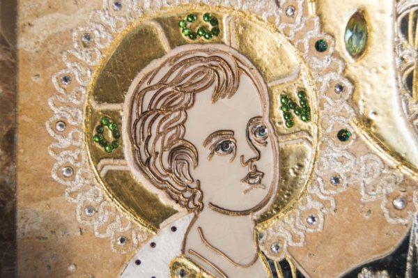 Икона Божией Матери Троеручица № 2-12-12 из мрамора, камня, изображение, фото 10