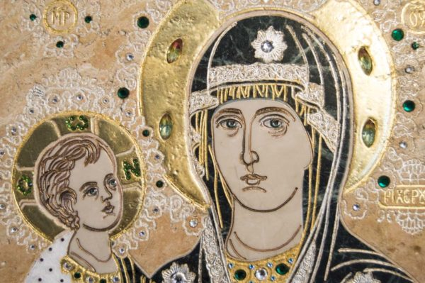 Икона Божией Матери Троеручица № 2-12-12 из мрамора, камня, изображение, фото 11