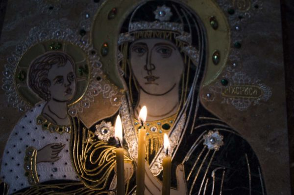 Икона Божией Матери Троеручица № 2-12-12 из мрамора, камня, изображение, фото 15