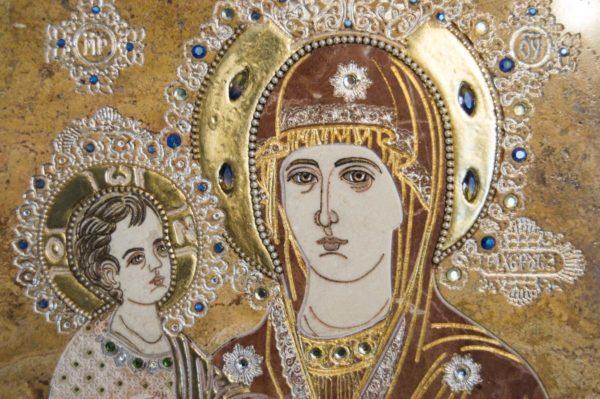 Икона Божией Матери Троеручица № 2-12-14 из мрамора, камня, изображение, фото 11