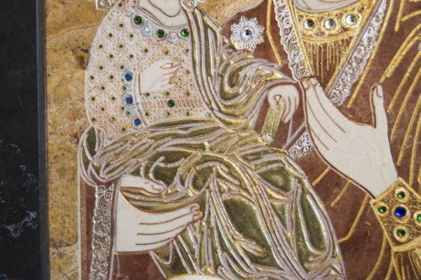 Икона Божией Матери Троеручица № 2-12-14 из мрамора, камня, изображение, фото 13