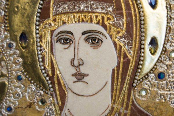 Икона Божией Матери Троеручица № 2-12-14 из мрамора, камня, изображение, фото 15