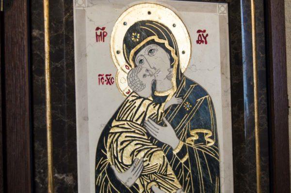 Икона Владимирской Божией Матери № 3 из мрамора, камня, от Гливи, фото 6