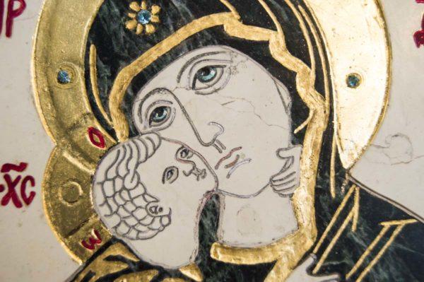 Икона Владимирской Божией Матери № 3 из мрамора, камня, от Гливи, фото 9