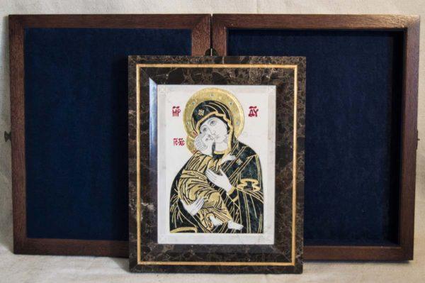 Икона Владимирской Божией Матери № 3 из мрамора, камня, от Гливи, фото 11