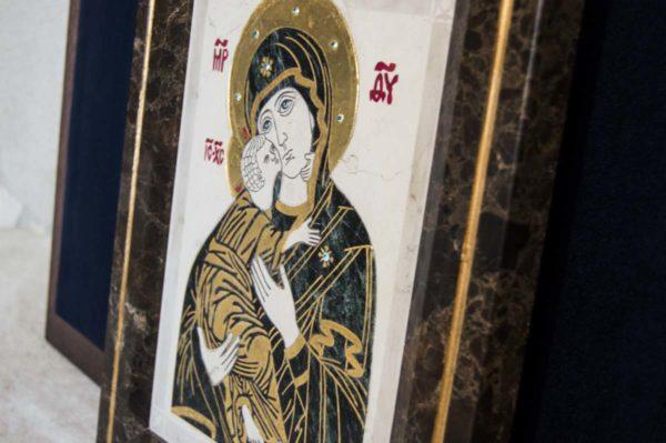 Икона Владимирской Божией Матери № 3 из мрамора, камня, от Гливи, фото 12