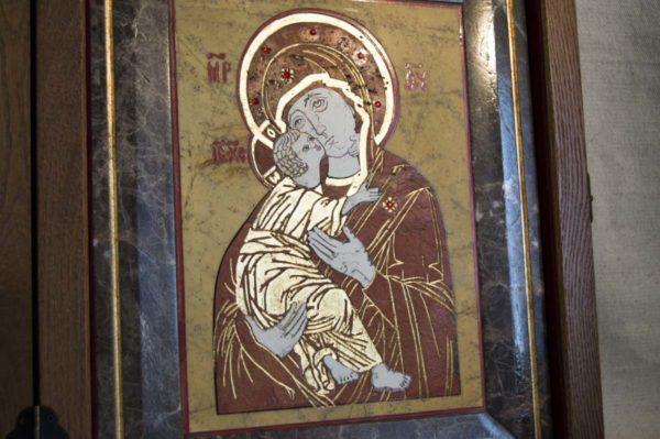 Икона Владимирской Божией Матери № 9 из мрамора, камня, от Гливи, фото 6