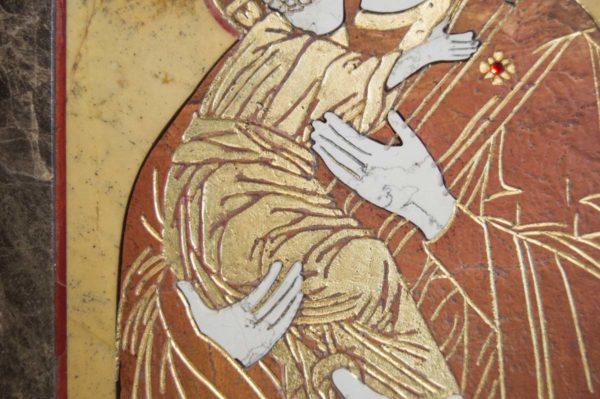 Икона Владимирской Божией Матери № 9 из мрамора, камня, от Гливи, фото 8