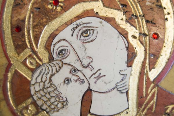 Икона Владимирской Божией Матери № 9 из мрамора, камня, от Гливи, фото 9