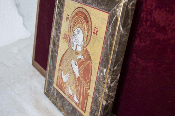 Икона Владимирской Божией Матери № 9 из мрамора, камня, от Гливи, фото 14