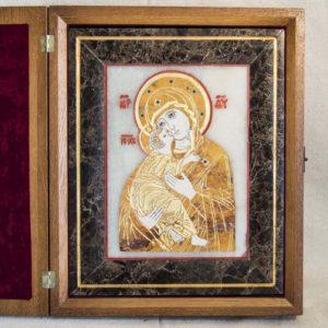 Икона Владимирской Божией Матери № 6 из мрамора, камня, от Гливи, фото 5