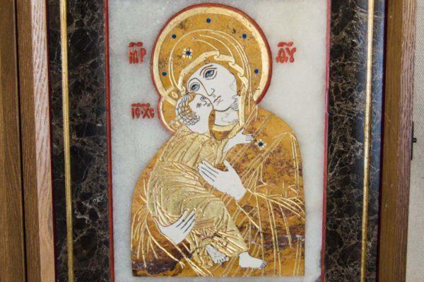 Икона Владимирской Божией Матери № 6 из мрамора, камня, от Гливи, фото 6