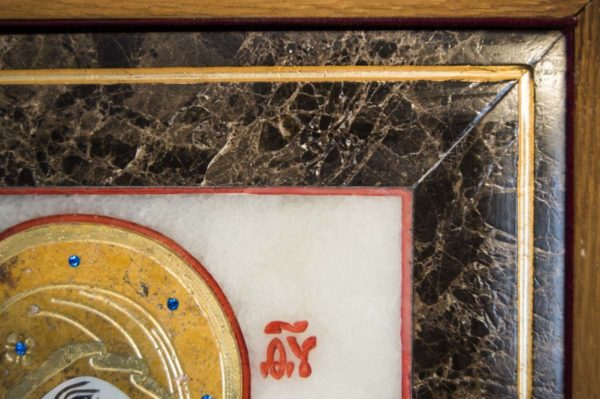 Икона Владимирской Божией Матери № 6 из мрамора, камня, от Гливи, фото 7