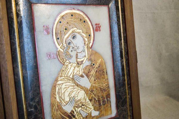 Икона Владимирской Божией Матери № 6 из мрамора, камня, от Гливи, фото 11