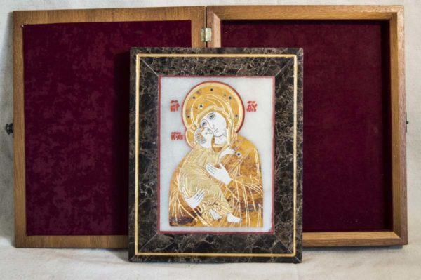 Икона Владимирской Божией Матери № 6 из мрамора, камня, от Гливи, фото 12