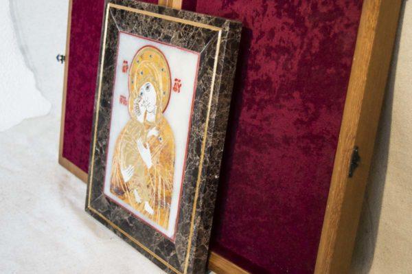 Икона Владимирской Божией Матери № 6 из мрамора, камня, от Гливи, фото 13