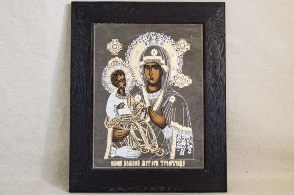 Икона Божией Матери Троеручица № 1-01 из мрамора, камня, изображение, фото 4